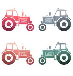 multicolor tractor icon set vector image