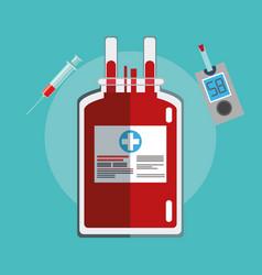 bag blood diabetes test syringe vector image