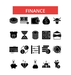 finance thin line icons linear flat vector image vector image