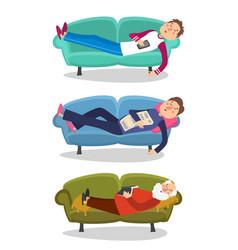 man sleep on sofa sleeping vector image vector image