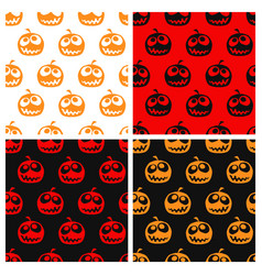 set of seamless halloween pattern vector image vector image
