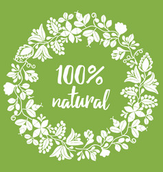 100 natural sign stamp on green background vector image