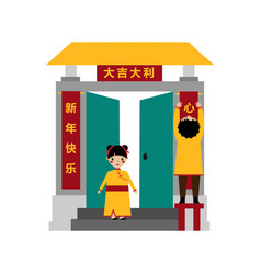 A man hangs a red chinese holiday poster vector