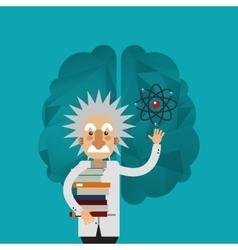 Albert einstein and brain icon image vector