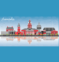 Annapolis maryland city skyline with color vector