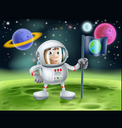 Astronaut outer space cartoon vector