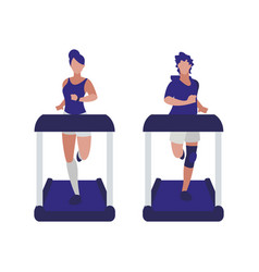 Athletics couple running in electric treadmill vector