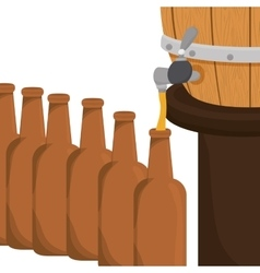 Beer bottles filling up icon vector image