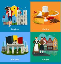 belgian landmarks flat style travel concept vector image