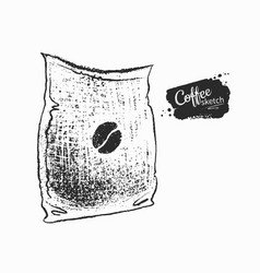 Black and white sack with coffee vector