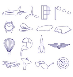 Blue aeronautical and aviation outline icons set vector