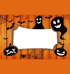 Border template with jack-o-lantern and spider web vector