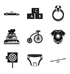 Born with silver spoon icons set simple style vector