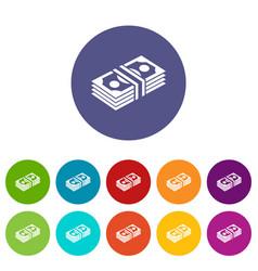 bundle note icons set color vector image