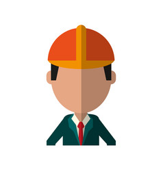 Businessman avatar with industrial helmet icon vector