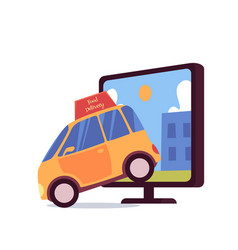 car with food delivery sign coming out computer vector image