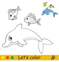 Cartoon cute sea theme coloring dolphin and fish vector