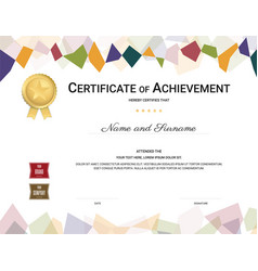Certificate template in colorful theme with vector