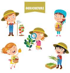 Characters working on agriculture vector