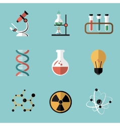 Chemistry Science Flat Icons Set vector image