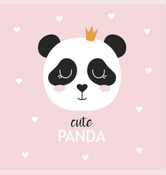 childish poster with cute panda vector image