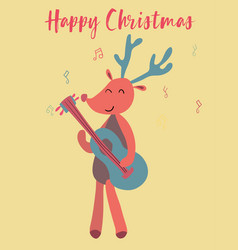 Christmas card cute reindeer play guitar vector