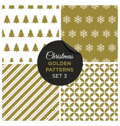 christmas golden patterns set 3 vector image vector image