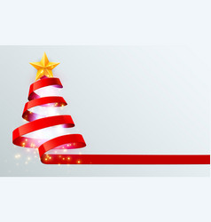 christmas tree made red ribbon on bright vector image