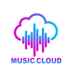 cloud music library streaming simple linear icon vector image