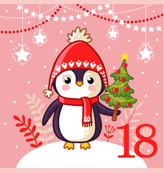 Cute penguin lies christmas tree vector