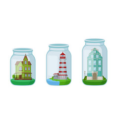 Decorative mansion and lighthouse rested in glass vector