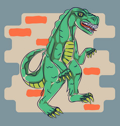 dino monster t shirt print design vector image