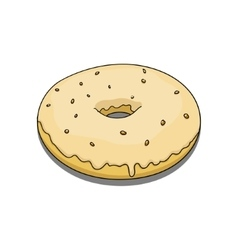 Donut with yellow coating vector