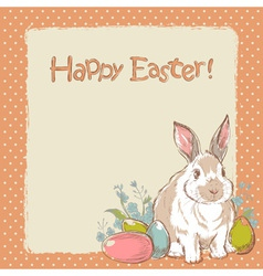 Easter bunny retro card with hand drawn flowers vector