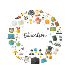 Education icon set in circle in flat style vector