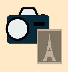 Eiffel tower with photo camera vector