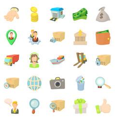 encashment icons set cartoon style vector image