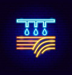 field watering neon label vector image
