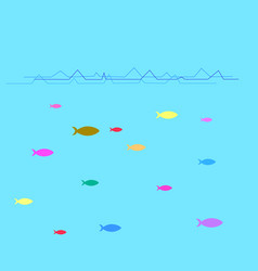 fish under water background vector image