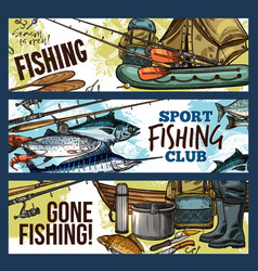 fishing banner with fisherman tackle and fish vector image