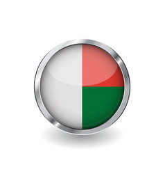 flag of madagascar button with metal frame and vector image