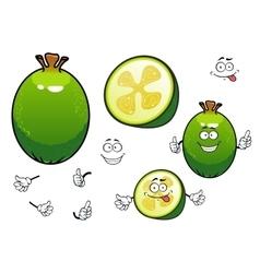 Fresh cartoon green feijoa fruit characters vector image