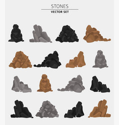 garden stones rock graphic elements flat design vector image