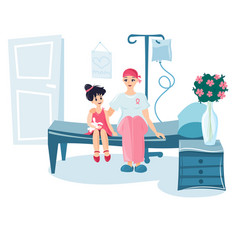 Girl and her mother in the hospital ward vector