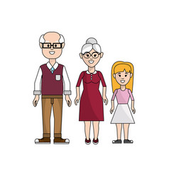 Grandparents with their granddaughter icon vector