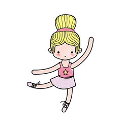 Grated ballerina pactice dancer with hair bun vector