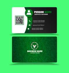green black business card visiting card template vector image