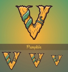 Halloween decorative alphabet - V letter vector image