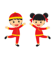 happy boy and girl in traditional clothes vector image