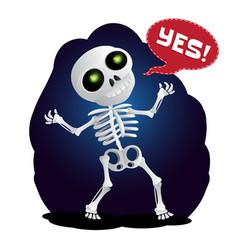 happy cartoon skeleton raises his hands in the vector image